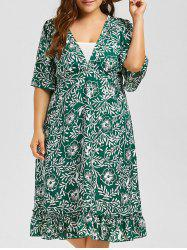 Floral V Neck A Line Plus Size Midi Dress