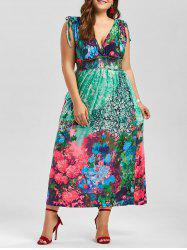 Plus Size Floral Plunging Neck Sleeveless Maxi Dress