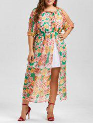 Split Sleeve A Line Chiffon Floral Plus Size Dress