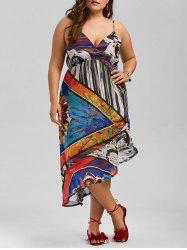 Plus Size Asymmetric Spaghetti Strap Printed Summer Dress
