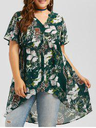 Plus Size Floral High Low Blouse