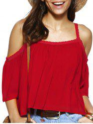 Trendy Spaghetti Strap Solid Color Loose Fitting Blouse - RED