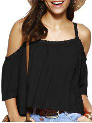 Trendy Spaghetti Strap Solid Color Loose Fitting Blouse - BLACK