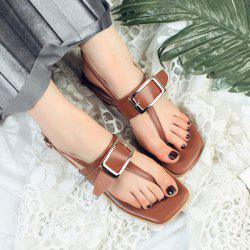 Flat Heel Buckle Strap Thong Sandals
