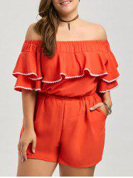 Off The Shoulder Ruffle Plus Size Culotte Romper - DARKSALMON