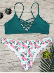 Criss Cross Bikini with Floral Pattern