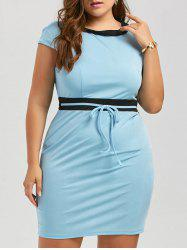 Plus Size Contrast Sleeveless Bodycon Mini Dress