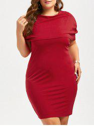 Longueur au genou Longueur au genou Bodycon Caped Formal Dress - Rouge 5XL