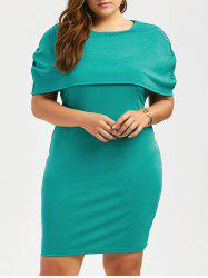 Plus Size Knee Length Bodycon Caped Formal Dress