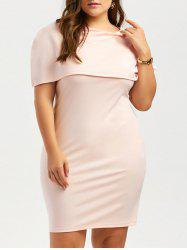 Plus Size Knee Length Bodycon Caped Formal Dress - LIGHT APRICOT PINK 3XL