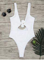 One Piece Ribbed Knot Backless Swimsuit - WHITE