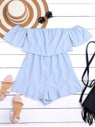High Waist Flounce Striped Romper