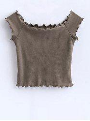 Ruffles Off Shoulder Crop Top - KHAKI S