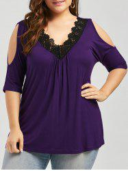 Plus Size Lace Trim Cold Shoulder V Neck Flowy Top - PURPLE