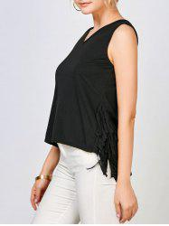 Sleeveless V Neck Fringe Top