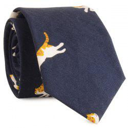 Cotton Blended Cartoon Cat Printed Neck Tie - CADETBLUE