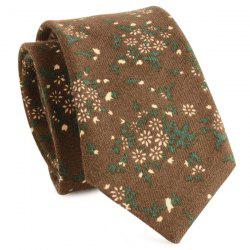 Cotton Blend Tiny Flowers Printing Neck Tie