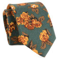 Cotton Blending Retro Flowers Printed Tie - BLACKISH GREEN