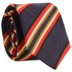 Cotton Blended Diagonal Striped Neck Tie