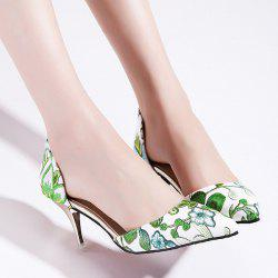 Floral Print Mid Heel Pumps - GREEN