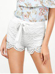 Drawstring Cut Off Lace Shorts