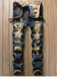 Destroyed Patch Design Zipper Fly Jeans - DENIM BLUE