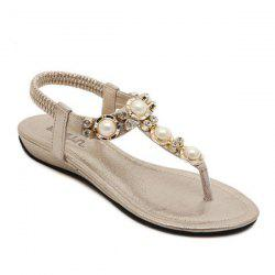 Elastic Faux Pearls Rhinestones Sandals - GOLDEN