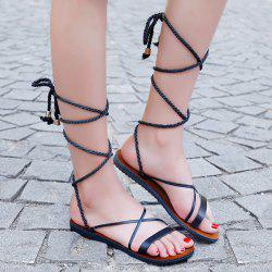 Tie Up Faux Leather Flat Sandals