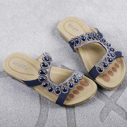 Faux Leather Beads Flat Heel Slippers - PURPLISH BLUE