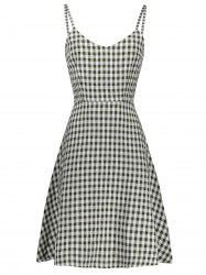 Plaid Sleeveless A Line Slip Dress