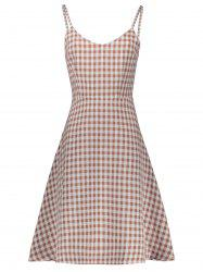 Plaid Sleeveless A Line Slip Dress -