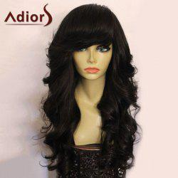 Adiors Side Bang Shaggy Long Loose Wavy Synthetic Wig - BLACK
