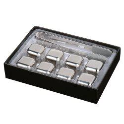 8 Pcs Stainless Steel Whisky Stone Square Chilling Ice Cubes - STAINLESS STEEL
