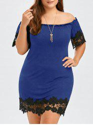 Plus Size Lace Trim Off The Shoulder Dress