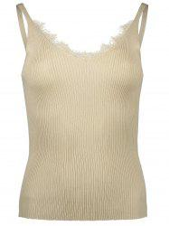 Ribbed Knit Eyelash Lace Insert Tank Top