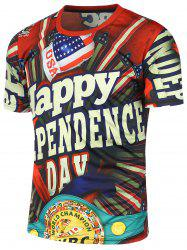 Independence Day Flag Printed Short Sleeve Tee