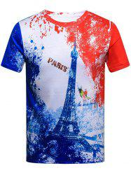 Eiffel Tower Print Exotic Splatter Painted T-Shirt