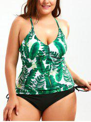 Palm Leaf Print Plus Size Backless Tankini - COLORMIX