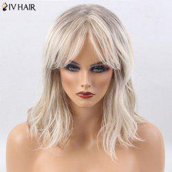 Siv Hair Medium Center Part Slightly Curly Colormix Human Hair Wig