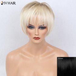 Siv Hair Two Tone Full Bang Silky Short Straight Bob Human Hair Wig