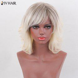 Siv Hair Medium Layered Side Bang Slightly Curly Colormix Human Hair Wig