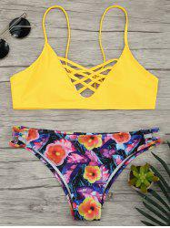 Lace Up Floral Straps Bikini Set