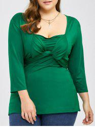 Plus Size Twist Front Belted Top