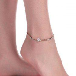 Rhinestone Crucifix Layered Charm Anklet - GOLDEN