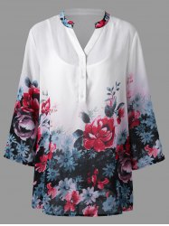 Plus Size Floral Split Neck Blouse with Camisole