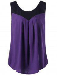 Curved Plus Size Two Tone Tank Top - PURPLE
