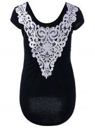 Lace Panel High Low Hem T-Shirt