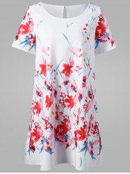 Floral Short T-Shirt Dress - WHITE 2XL