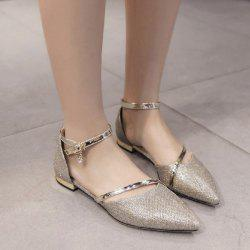 Rhinestone Metal Color Flat Shoes
