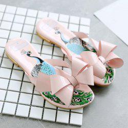 Peacock Print Bow Flat Slippers